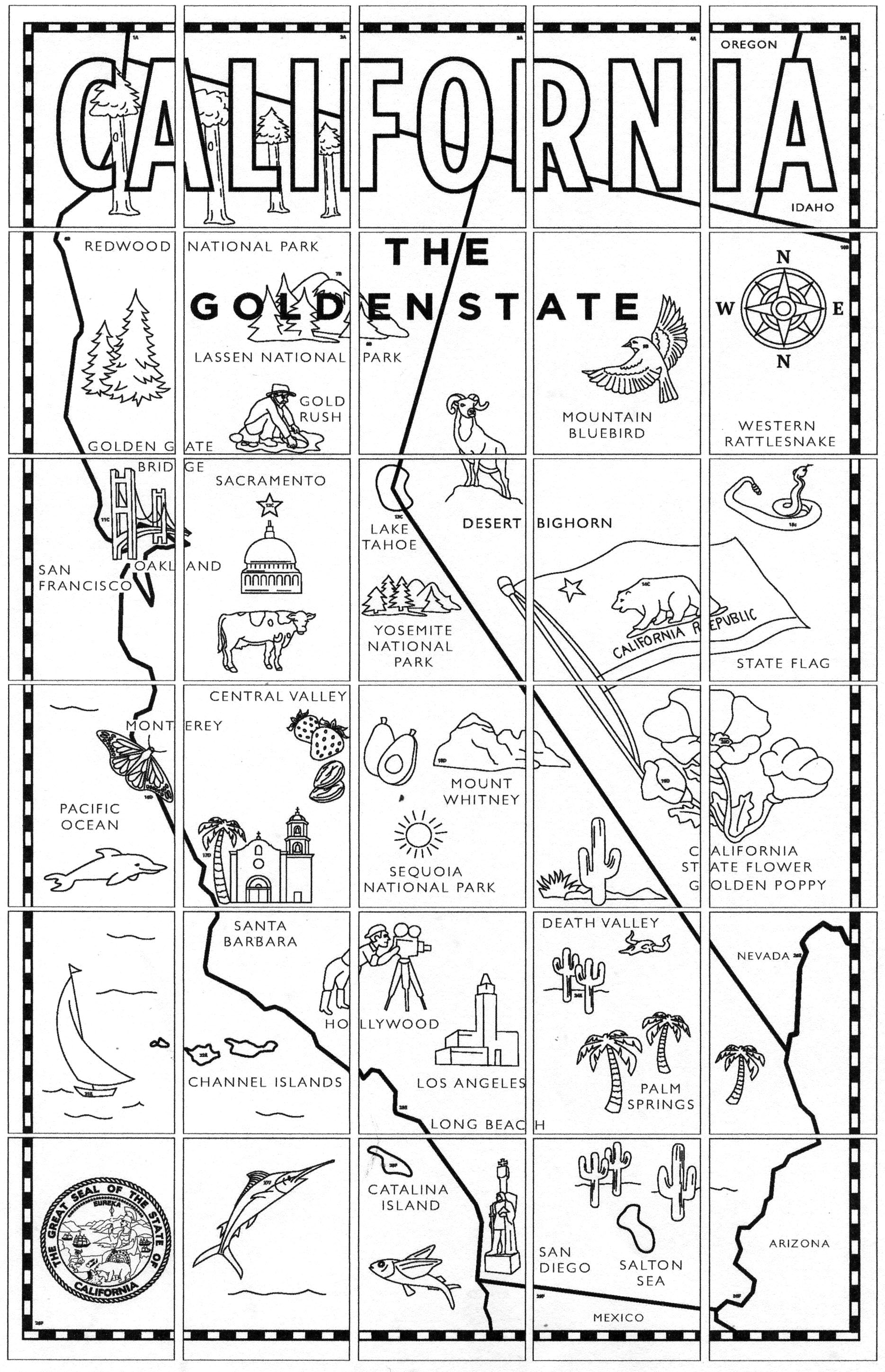 California Map Mural Art Projects For Kids - Ca state map