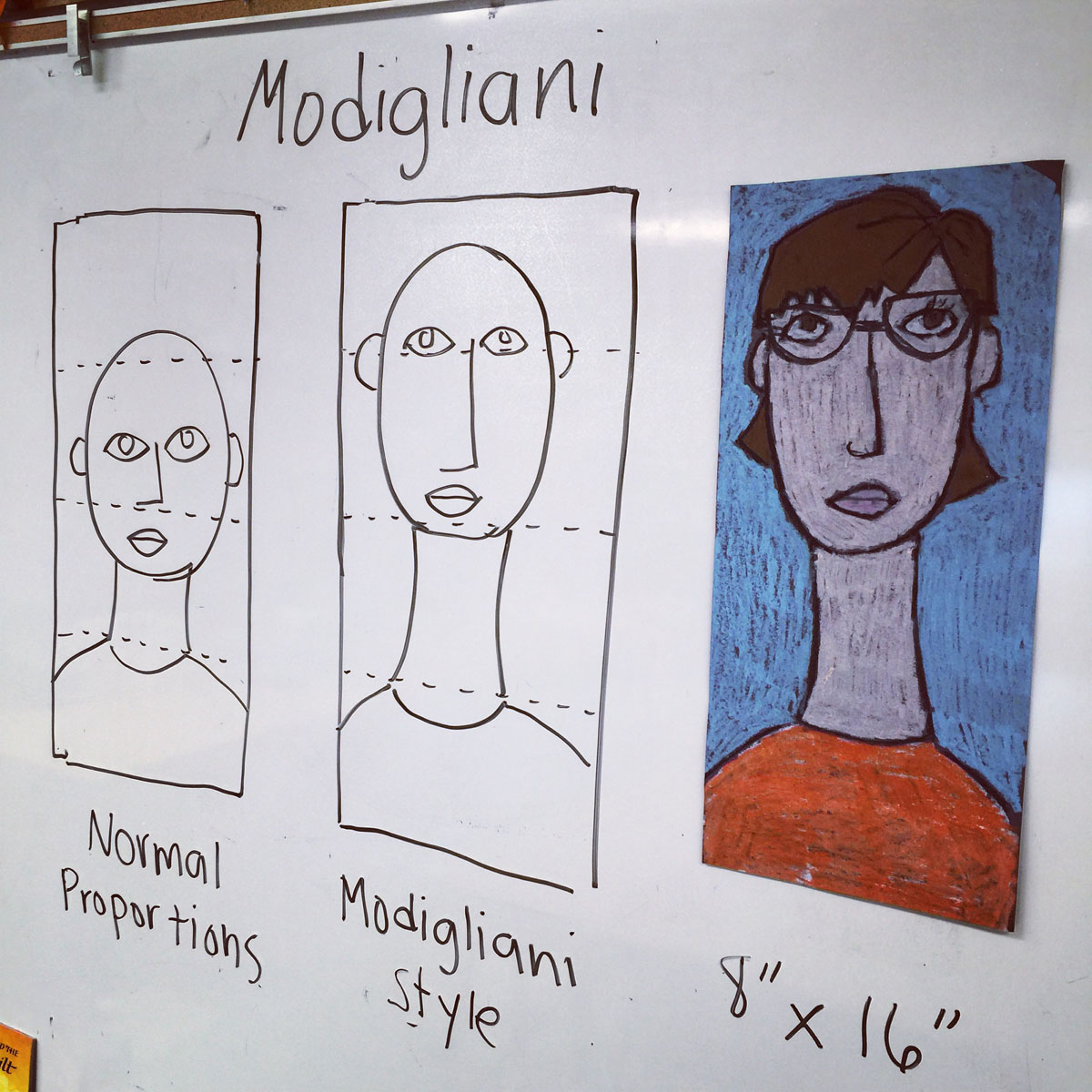 Self portraits modigliani style art projects for kids for Oil painting lessons near me