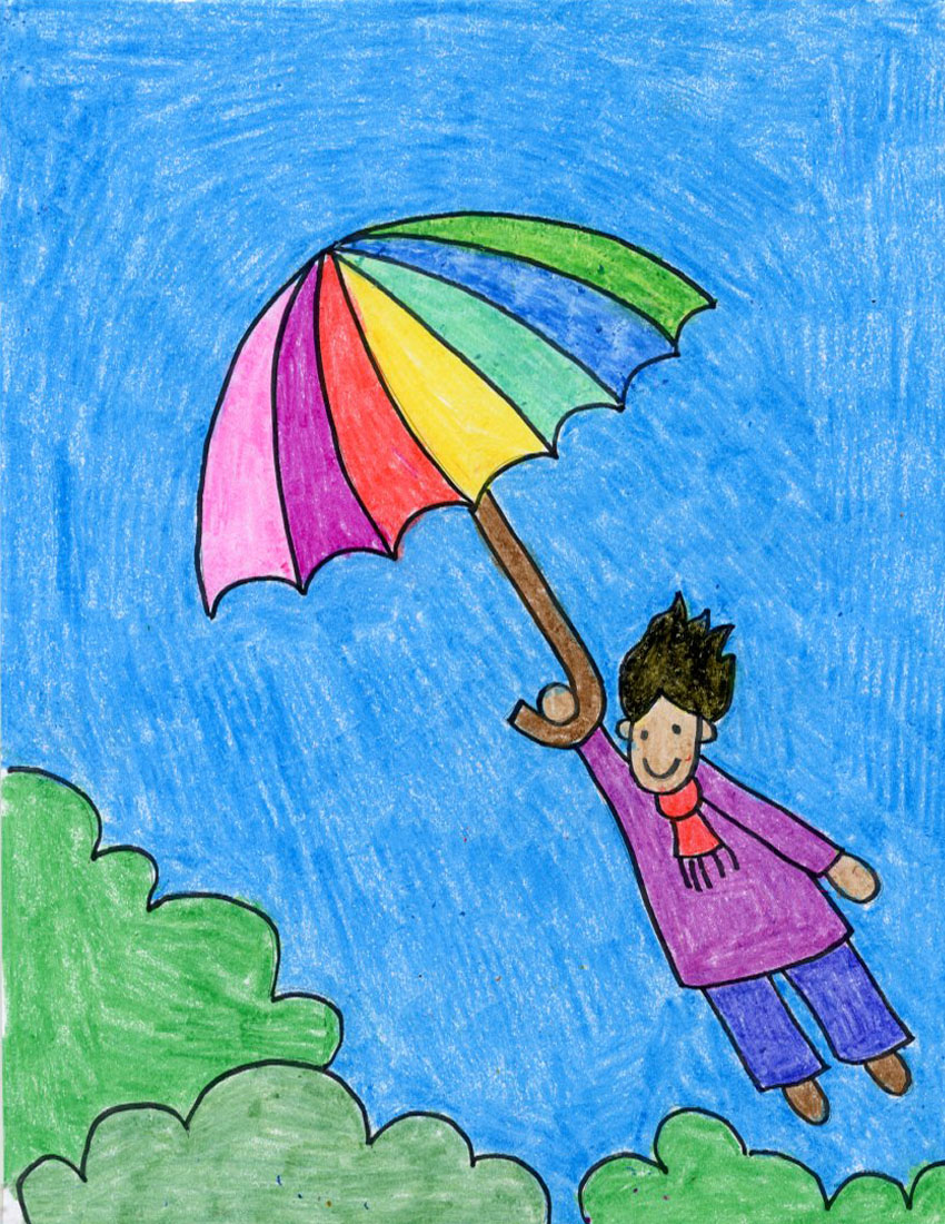 flying umbrella kid tutorial art projects for kids