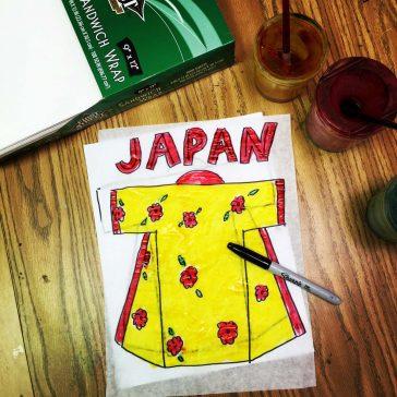 symmetrical watercolor kimono