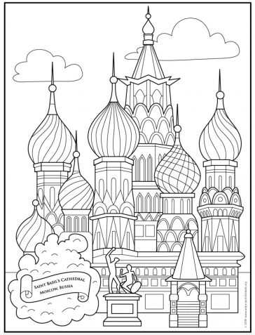 Saint Basil's Cathedral Coloring Page