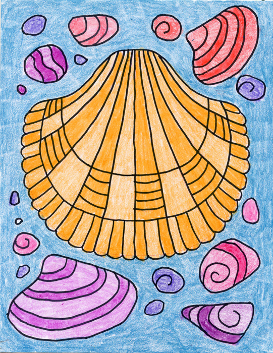 Draw Sea Shell Art Projects Kids