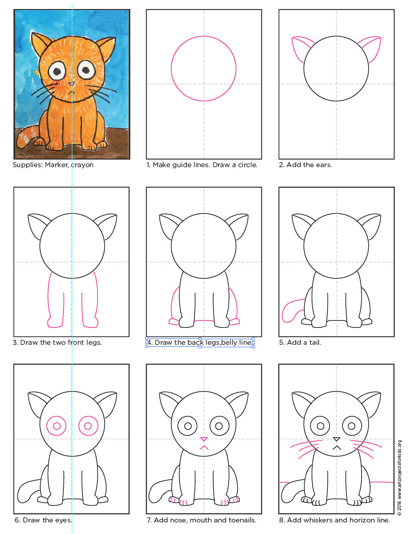 Drawing Lines For Toddlers : Big head cat art projects for kids