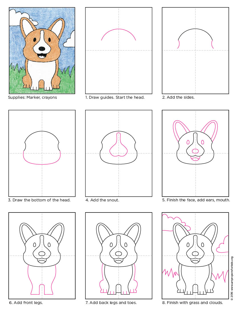 draw a corgi dog art projects for kids