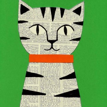 Newsprint Collage Cat