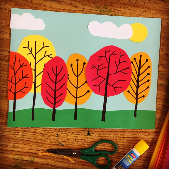 Overlapping Tree Collage · Art Projects for Kids