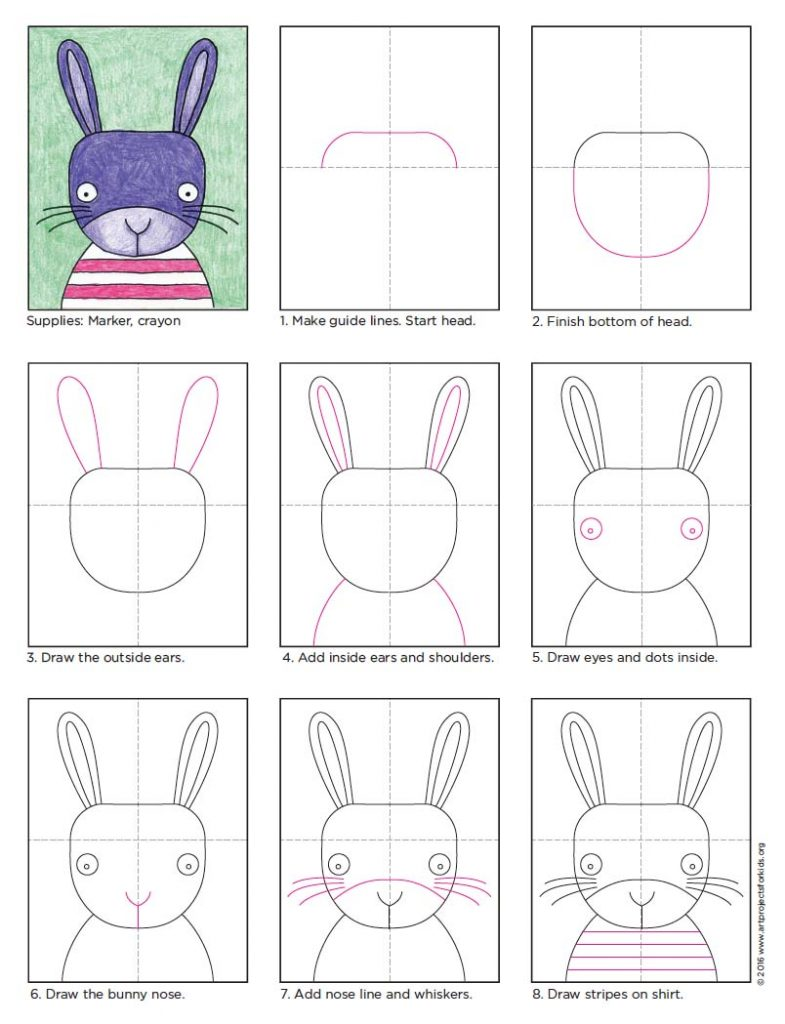bunny face drawing