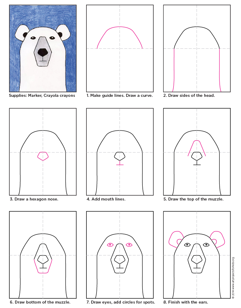 Drawing Lines With Polar Tracking : Draw a polar bear art projects for kids