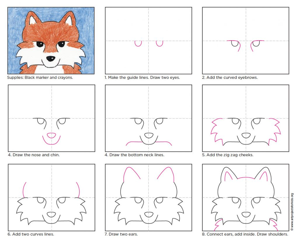 How to Draw a Fox Face · Art Projects for Kids