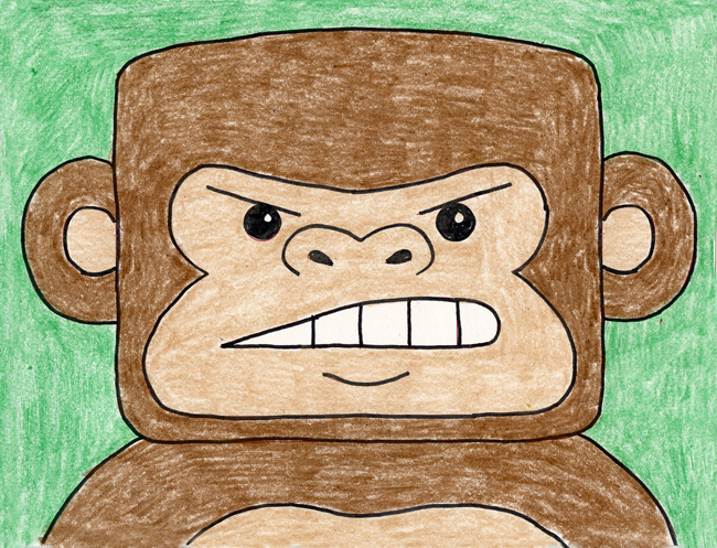 gorilla face drawing
