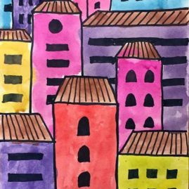 city drawing easy