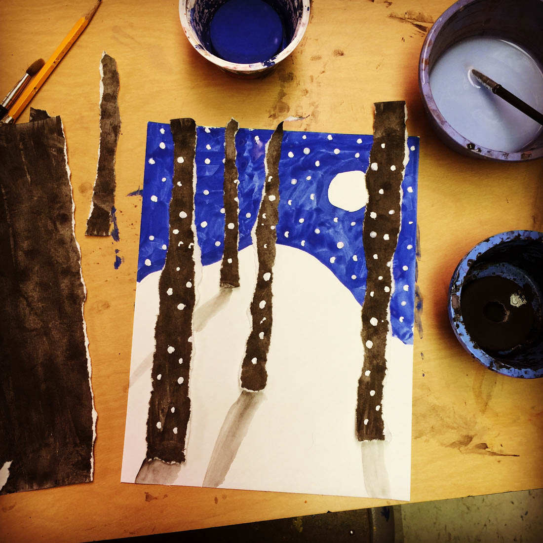 Torn Winter Tree Art - Art Projects for Kids