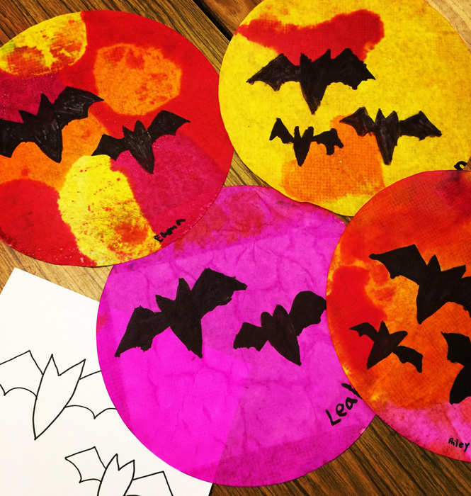 Bat Silhouettes On Coffee Filters 183 Art Projects For Kids