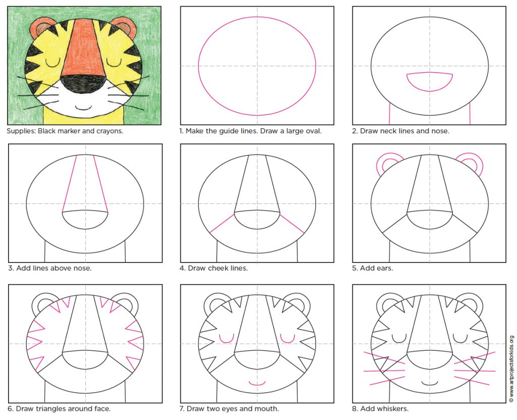 How to draw a tiger face