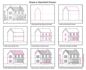 how to draw a haunted house-diagram