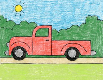 How to draw a pickup truck