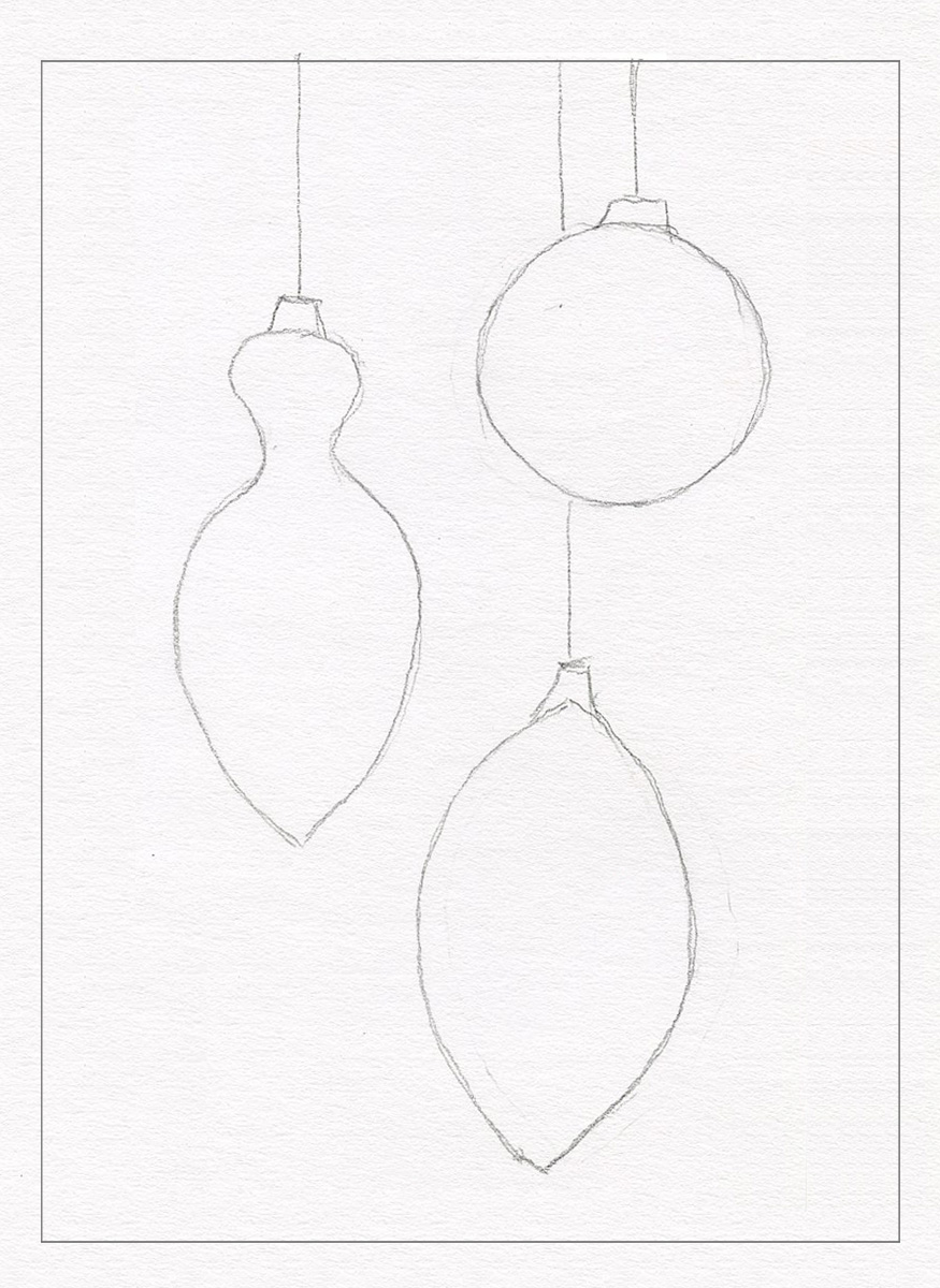 2 trace the ornaments lightly with a pencil add a top and hanging line christmas drawings for cards