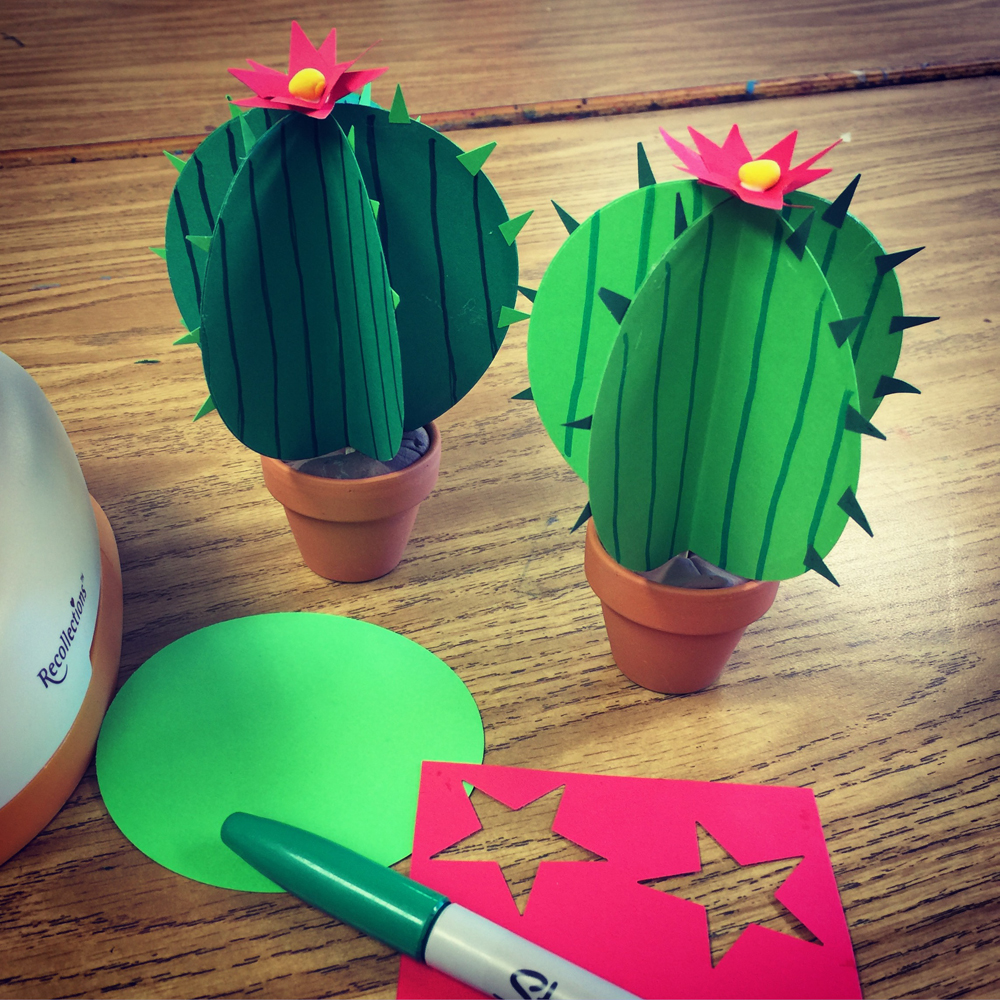 Paper cactus art projects for kids miniature clay pot about 2 tall michaels has them model magic leftovers or any brown color craft paper punch 3 circle star paper punch mightylinksfo