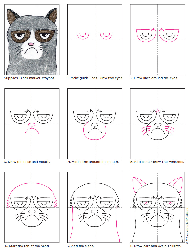 How to Draw Grumpy Cat · Art Projects for Kids