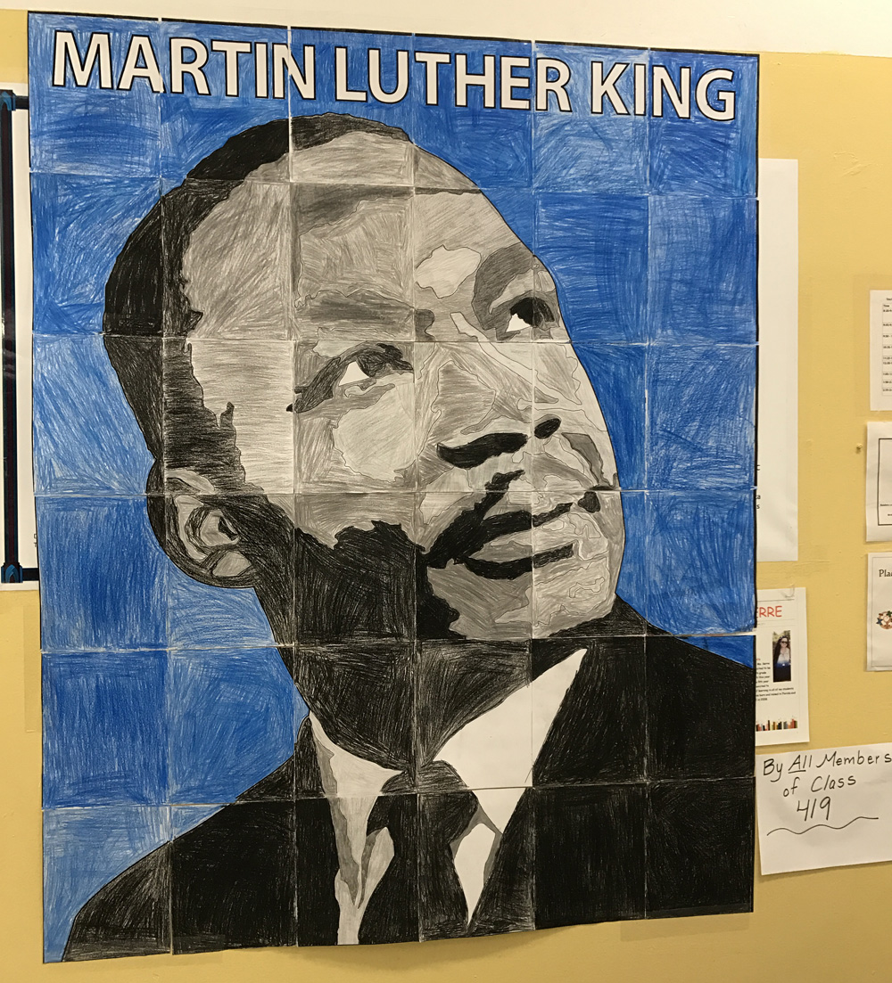 Student mlk mural art from the bronx art projects for kids for Black history mural
