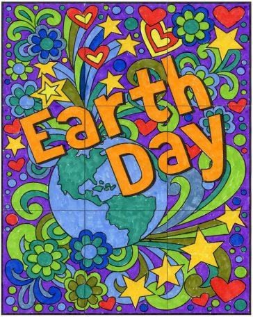 Mini Earth Day collaborative mural