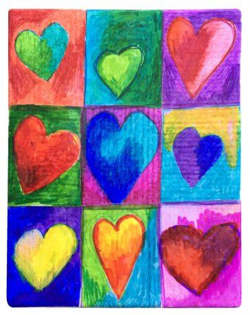 Collaborative Hearts on Canvas