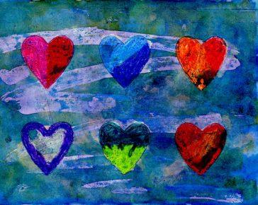 Watercolor Resist Hearts