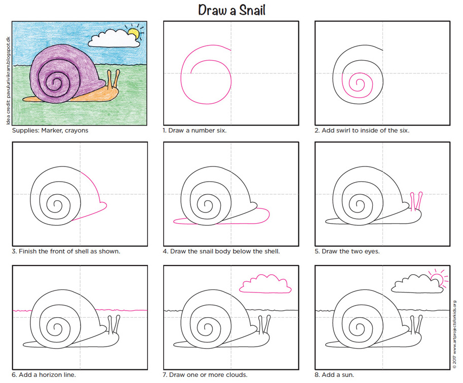 Draw a snail art projects for kids for Simple snail drawing
