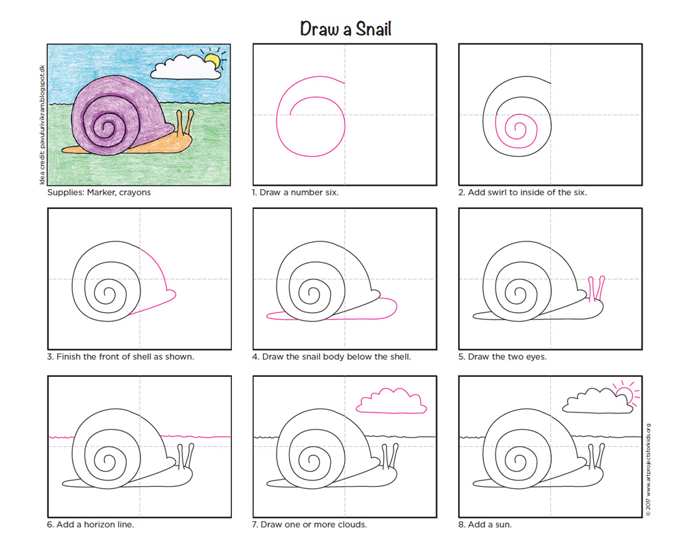Draw A Snail Art Projects For Kids