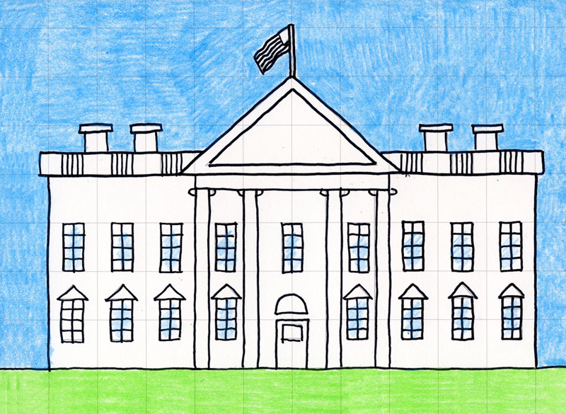 Draw the white house art projects for kids for Draw house online