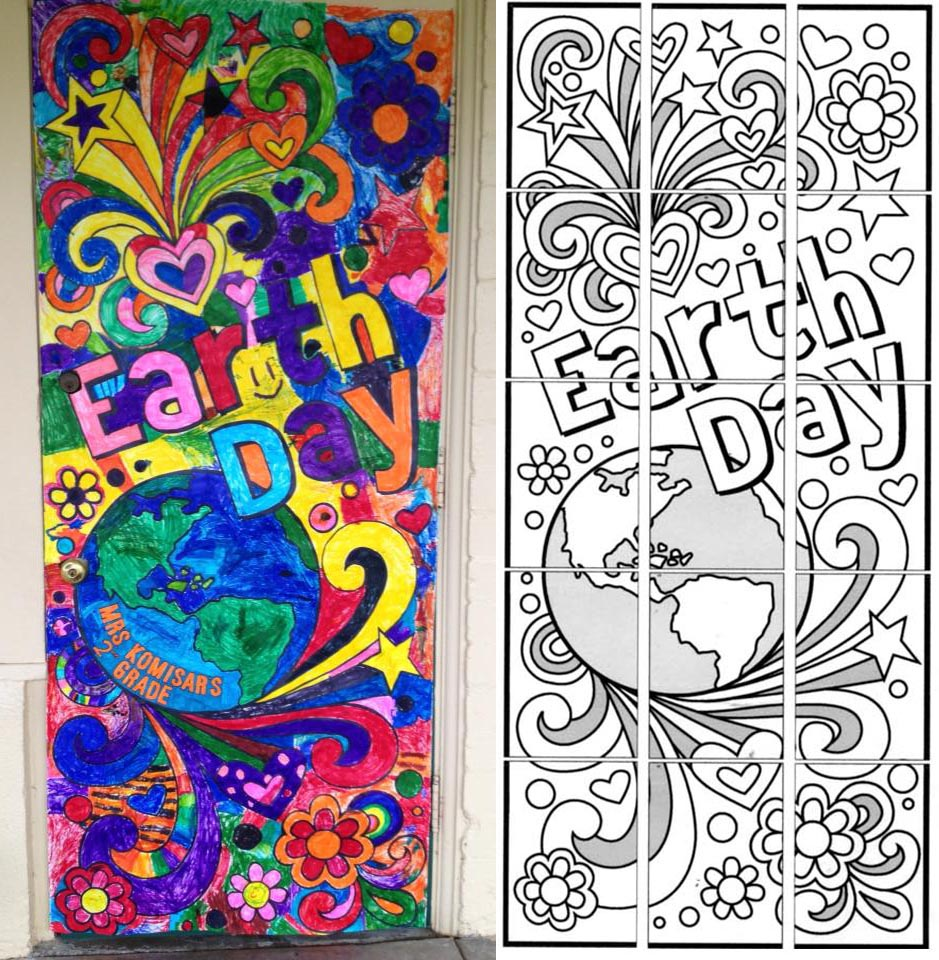 Earth day doodle mural art projects for kids for Painting projects
