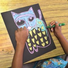 laurel burch cats art lesson
