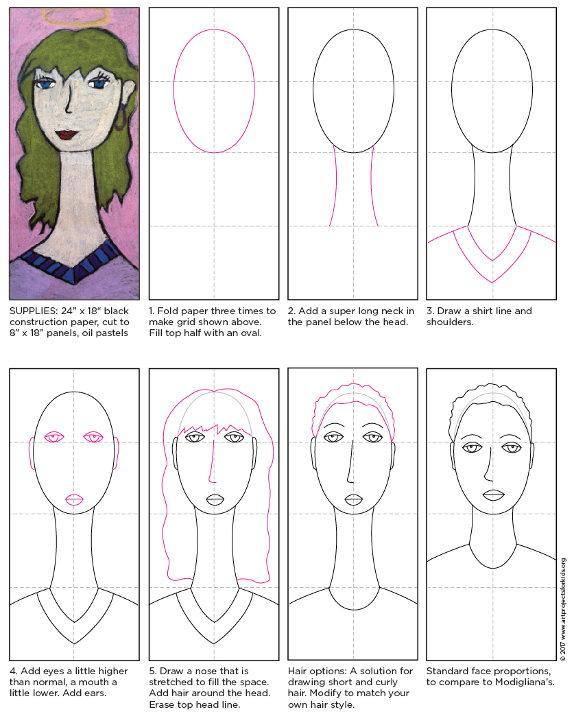 Modigliani self portrait tutorial art projects for kids my amedeo modigliani for kids art lesson shows students how to distort a portrait much in the way that he elongated necks and faces ccuart Image collections