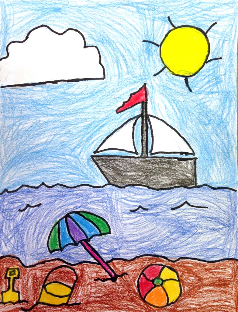 Beach Drawing · Art Projects for Kids