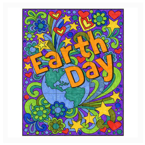 graphic about Printable Mural known as Cost-free! Mini Planet Working day Mural · Artwork Assignments for Young children
