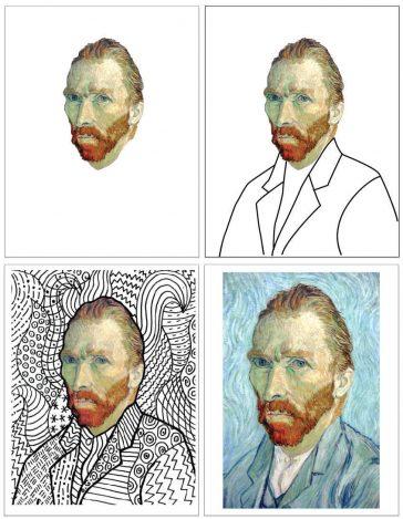 Deluxe Van Gogh Line Art Template