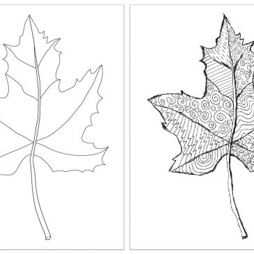 Zentangle Art Leaf Template
