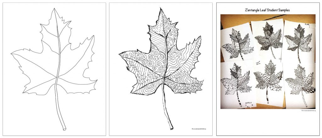 Zentangle Art Leaf Template Art Projects For Kids