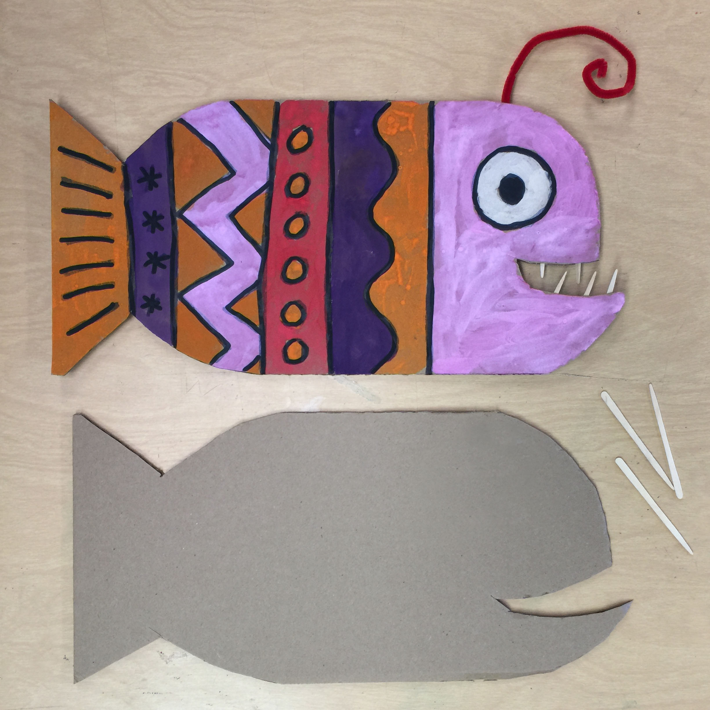 Cardboard angler fish art projects for kids for Cardboard for projects