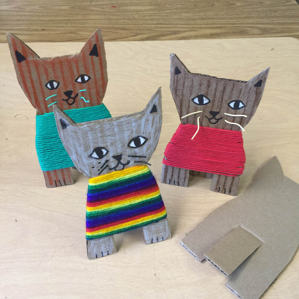 Cardboard kittens art projects for kids for Cardboard for projects