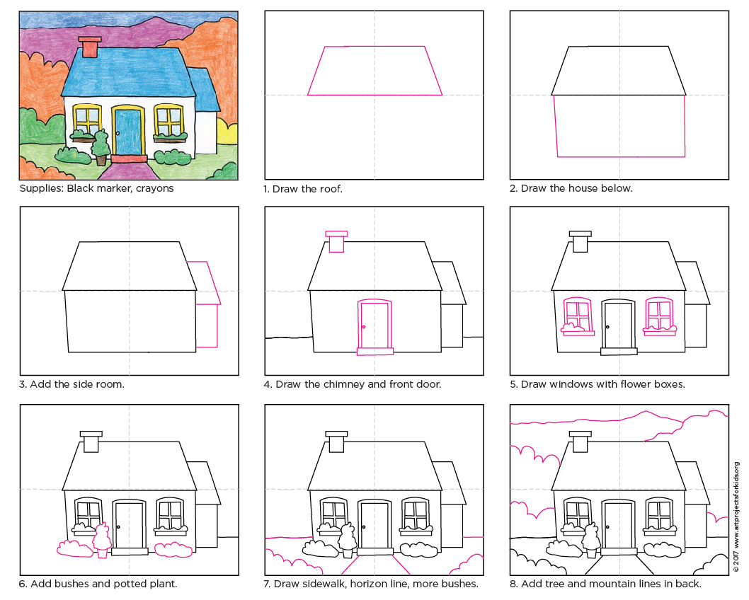 Draw a cottage art projects for kids for How to build a house step by step instructions