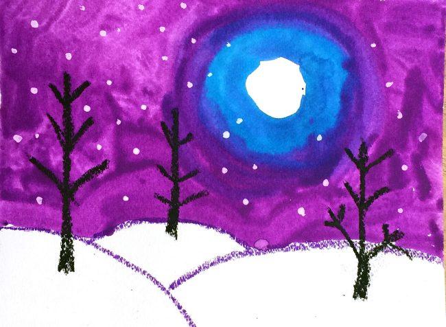 Snowy Winter Landscape · Art Projects for Kids
