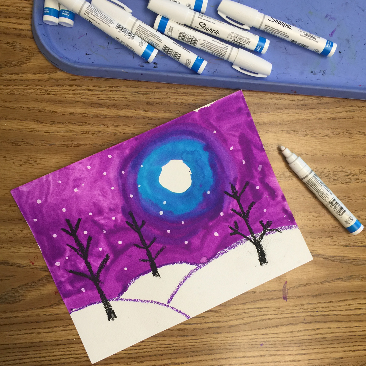 Students Finished Their Snowy Landscapes With The Perfect Tool Sharpie Paint Markers Allowed All Art To Easily Get A Delicate Sprinkling Of Snow
