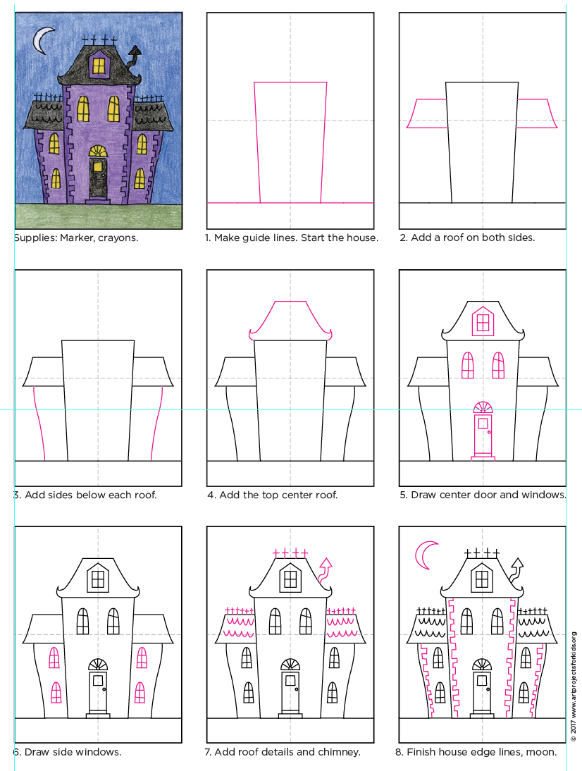 There are many many ways to draw a haunted house but may favorite are the quirky city type with some unusual architectural features
