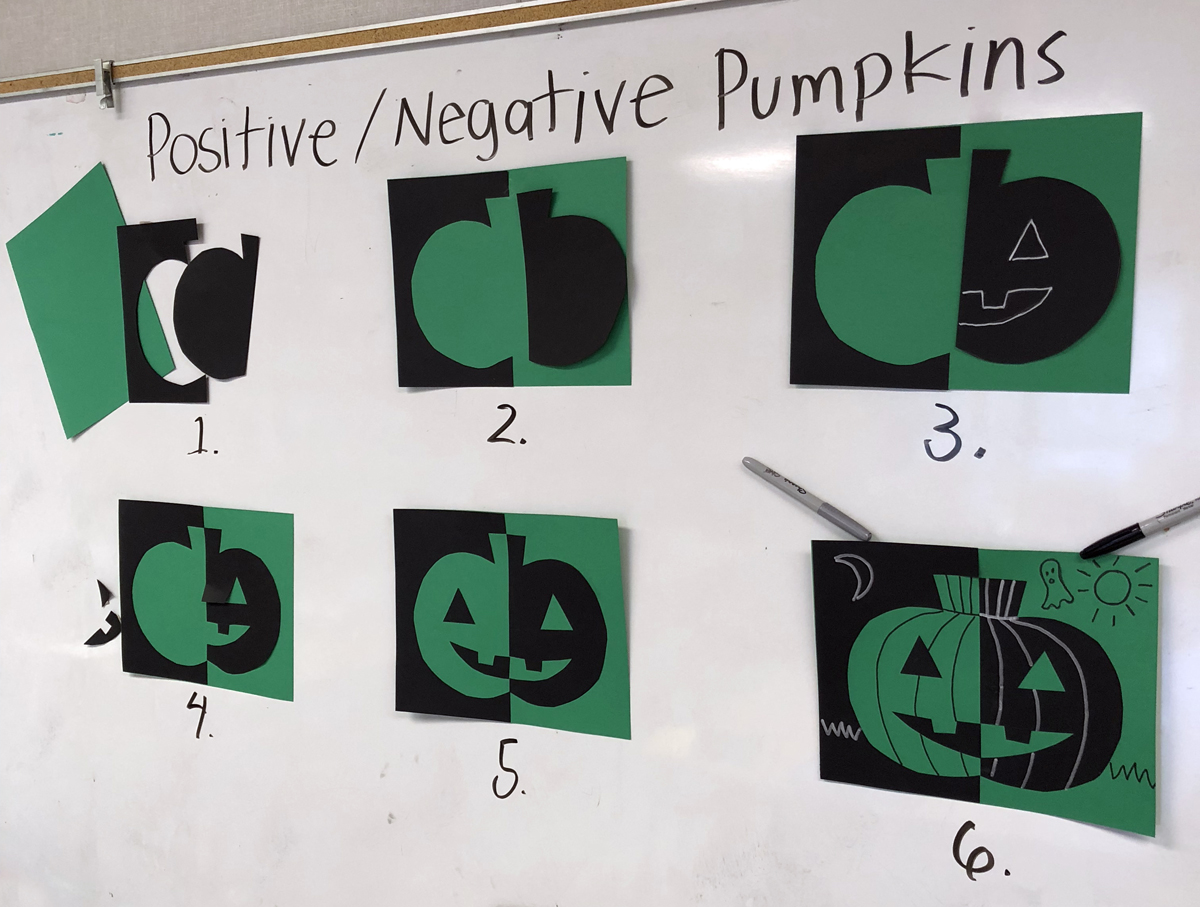 Positive Negative Pumpkins Art Projects For Kids Diagram Of A Pumpkin I Like How This Project Requires Students To Think Symmetrically But Still Allows Plenty Creativity With The Final Marker Lines