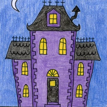 easy haunted house drawing
