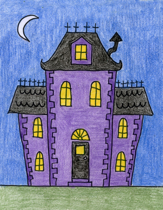 Draw a Haunted House · Art Projects for Kids