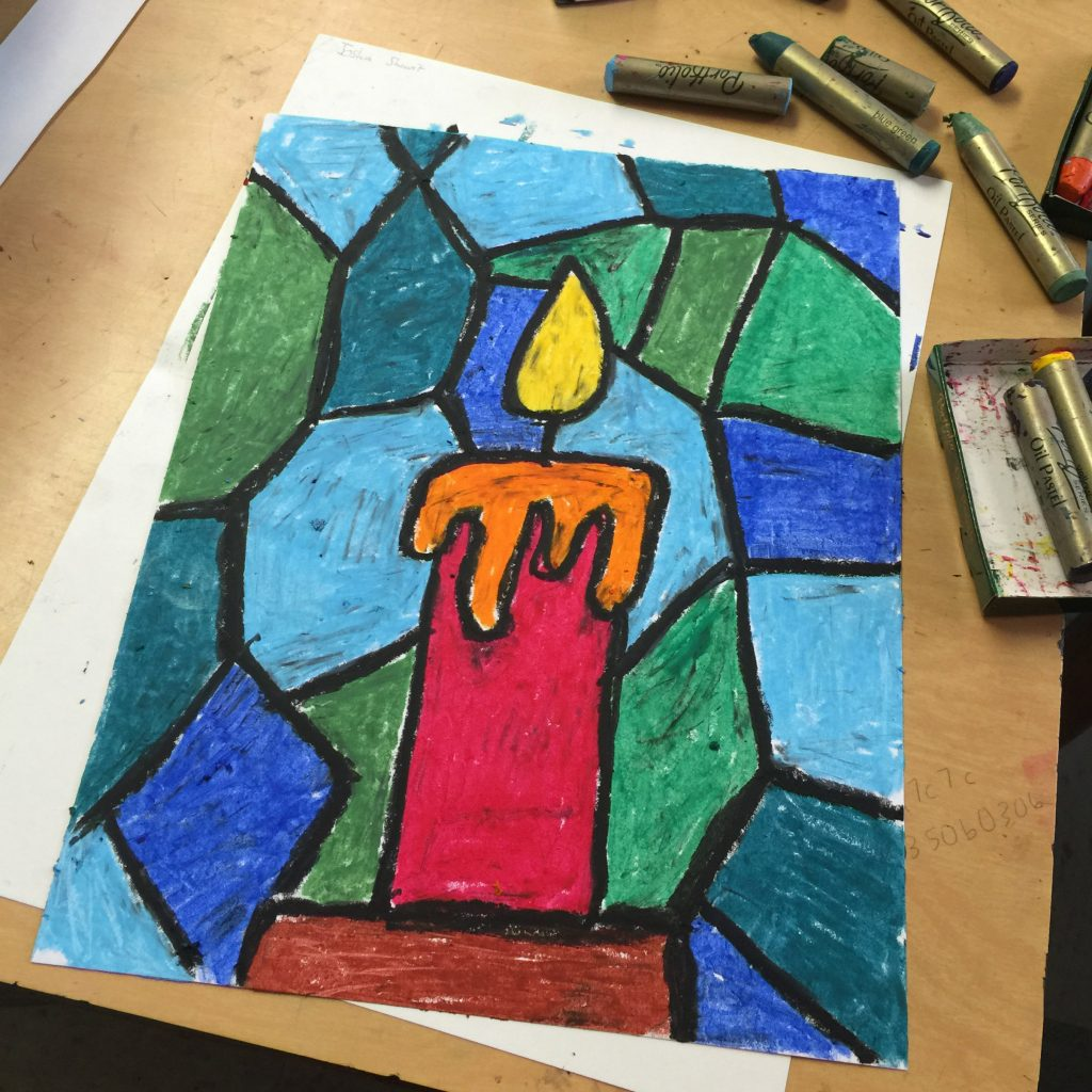 Oil Pastel Candle Drawing - Art Projects for Kids