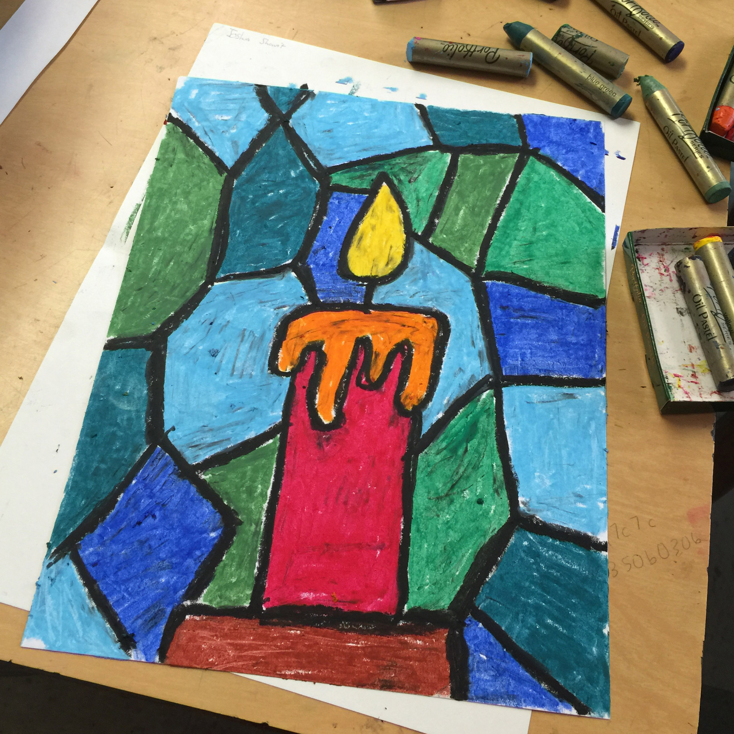 Drawing Lines With Oil Paint : Oil pastel candle drawing art projects for kids