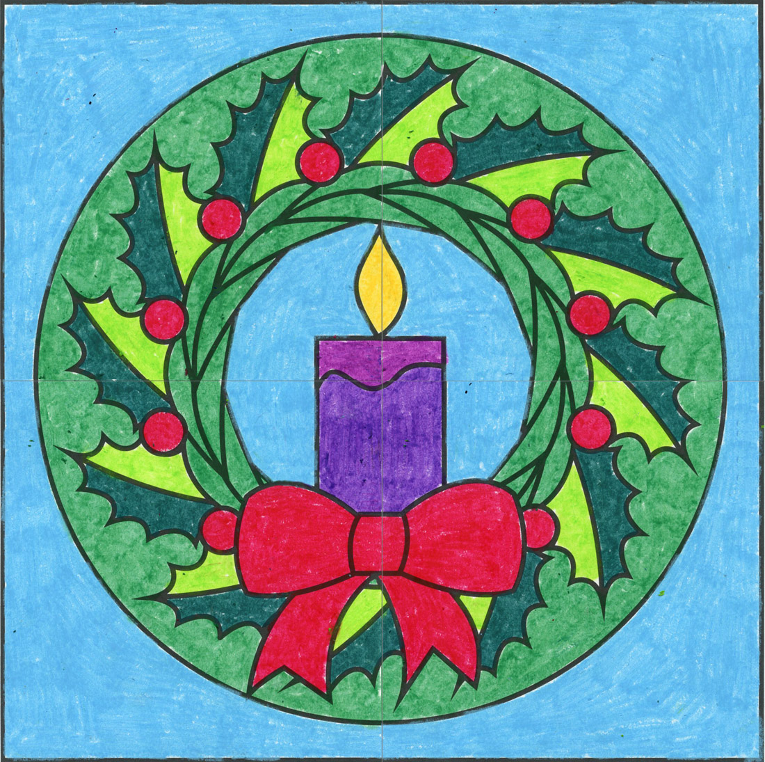 Free Christmas Wreath Mural · Art Projects for Kids
